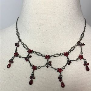 Jewelry - Vintage Red Rhinestone Silvertone Necklace Flowers